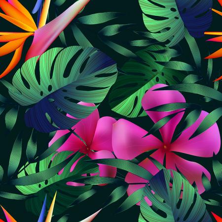 Tropische bloemen, jungle bladeren.