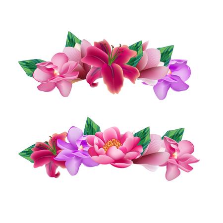 Set of flower head wreaths Vectores