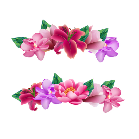 Set of flower head wreaths 向量圖像
