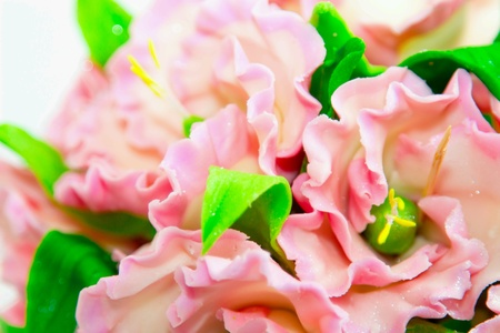bright: Sweet festive bouquet of mastic, chocolate and marzipan, bright and gentle. wedding. gift. Stock Photo