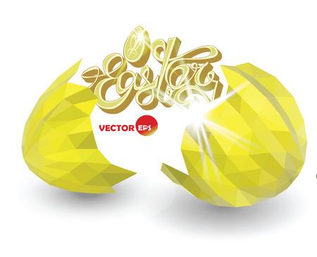 eggshell: Cracked golden eggshell. Broken easter eggs with decorative elements. Illustration
