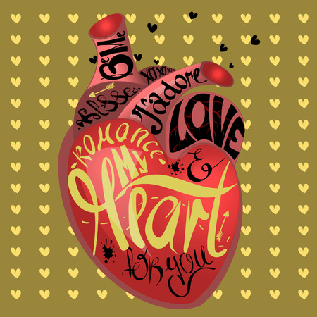 gothic heart: Drawing the human heart on gold background pattern of cartoon hearts, humor comic style. Gothic text- my heart for you, love and romantic. Greeting card with real heart sketch and calligraphic text. Illustration