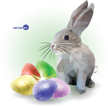 cute bunny: Easter bunny, funny cartoon greeting Easter painting card. Rabbit with color set of five decorative eggs. Happy Easter for you. Low poly graphics. Traditional spring holiday, Christianity