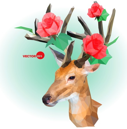 retro flower: Deer silhouette with horns made of flowers on the green background. Red roses on the horns. March, summer, spring holiday design for invitation and wedding greeting cards. Deer Antlers with Flowers.