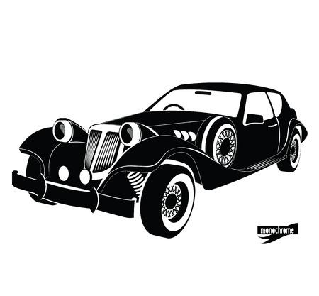 Monochrom Retro-Auto, Frontansicht schwarz Auto Silhouette, Luxus-Vintage-Auto auf weißem Hintergrund, Handzeichnung Stil für Design-Karte, Banner, Druck. Autovermietung für Fahren in der Stadt. Vektorgrafik