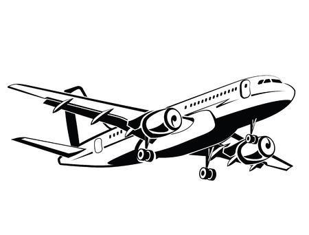 airline: Plane is landing and take-off, the gear. Travel and transportation. Plane icon in monochrome style. Airlines. Airplane flying in the sky. Airplanes silhouettes high detailed. Business travel Illustration