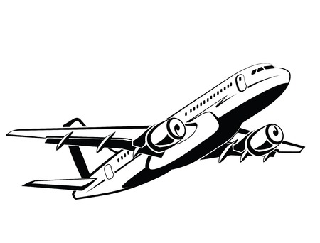 economy class: Airplane, plane on takeoff, passenger plane. Airlines. Airport and travel transport. Business and economy class. Symbol and icon design, monochrome style, hand drawing. Illustration