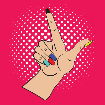 specify: Hand with raised index finger on the bright pink background and white points in the background. Call attention and information with index finger.Female hand made in pop art style, comicks, scetch. Illustration