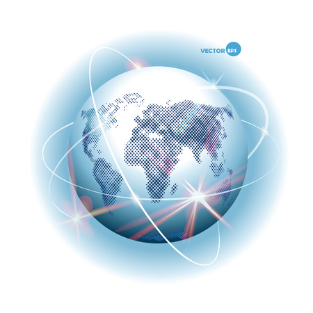 orbital: Globe with design of ways - Internet, communication, mobile communication, sputnik road, air way. Planet Earth with continents and sea and world Ocean, atmosphere. Space cosmos view.