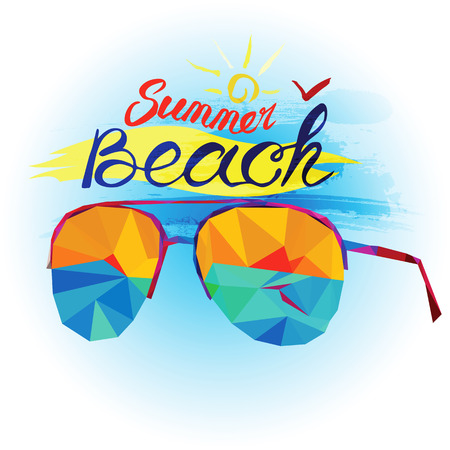 magnets: Summer holiday and beach. Sunglasses and sea view made in polygonal style. Summer and beach text. Design for postcard, souvenir, magnets for memory  of the holiday.  Happy holiday and travel.