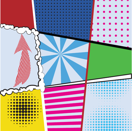with sets of elements: Pop art collection sets of nine bright backgrounds for design projects, packaging, tableware, signage, postcards. Comics pop-art style template with dots, lines, signs elements, vector illustration
