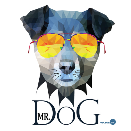 mr: Dog Hipster man, Mr. Dog Terrier in glasses, fashion look animal illustration portrait in polygonal style, isolated on white background. Cartoon and book, design for print on things and fabrics Illustration