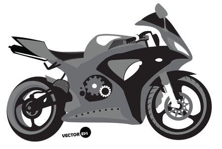Sportbike silhouette, transport for speed and extreme sports, motocross. Motorcycle, sports body kit, monochrome isolated.