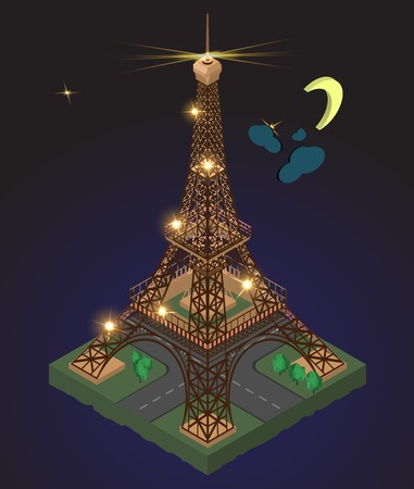 nights: Eiffel tower on the background of night sky with stars lights, moonlights and sparkling bulbs. Graphic design and an item vector illustration of symbol of France and Paris, nights view.