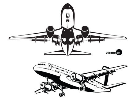 plane landing: Aircraft. The plane landing, the view from the bottom and side. Stock Photo