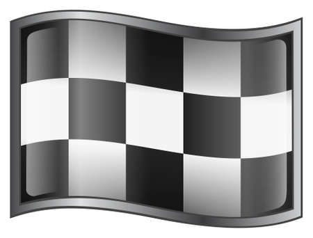 autos: checkered flags button (With Clipping Path)