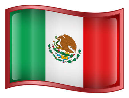 Mexico Flag Icon (With Clipping Path) photo