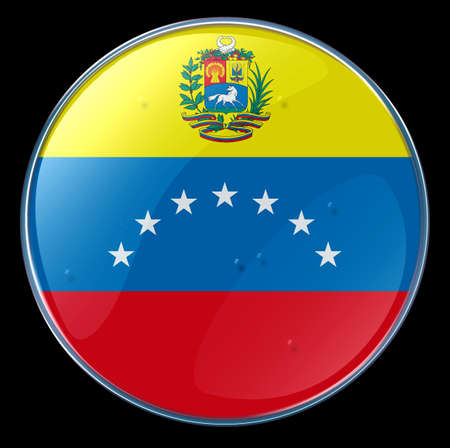 Venezuela Flag Button. (With Clipping Path) photo