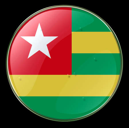 Togo Flag Button. (With Clipping Path) photo