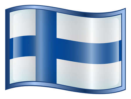Finland Flag icon. (With Clipping Path) photo