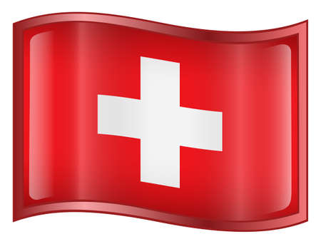Switzerland Flag icon. (With Clipping Path) photo