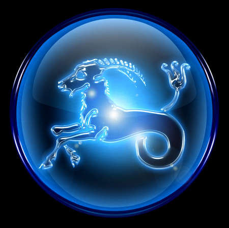 Capricorn zodiac button Stock Photo