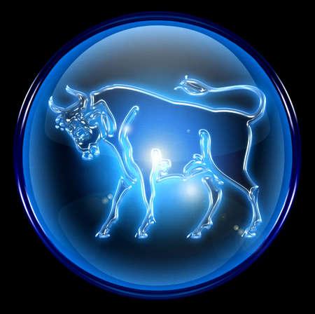 Taurus zodiac button icon Stock Photo