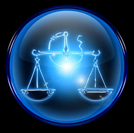 Libra zodiac button icon Stock Photo