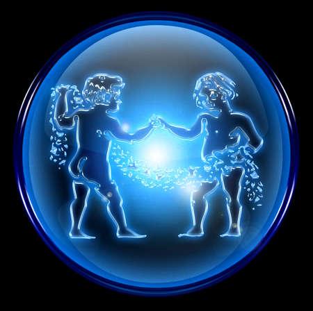 Gemini zodiac button icon Stock Photo