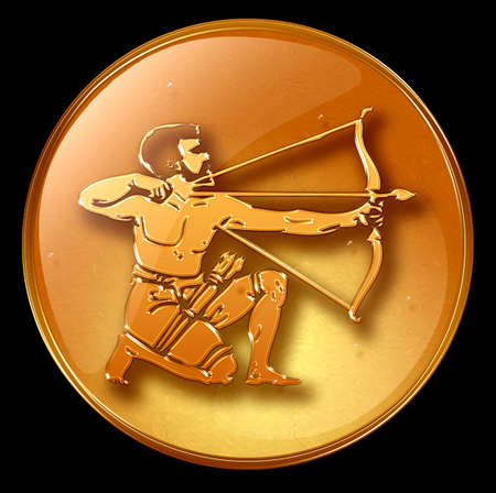 Sagittarius zodiac button icon Stock Photo - 1228924