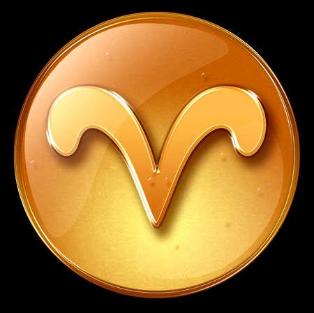Aries zodiac button icon Stock Photo - 1228927