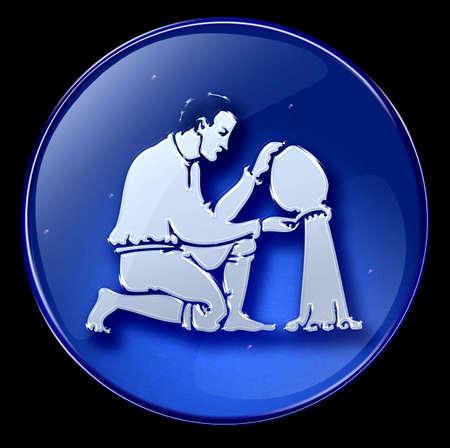 Aquarius zodiac button icon Stock Photo - 1280326