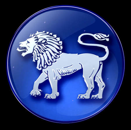 Lion zodiac button icon Stock Photo - 1280338