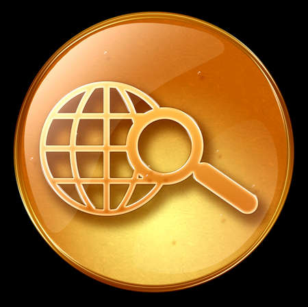 searchengine: search and magnifier icon, isolated on black background Stock Photo