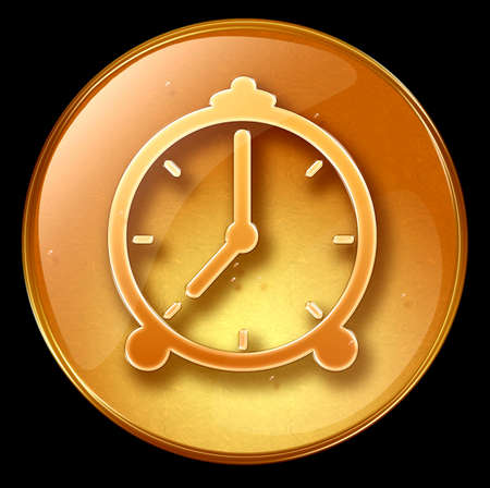 Clock icon, isolated on black background photo