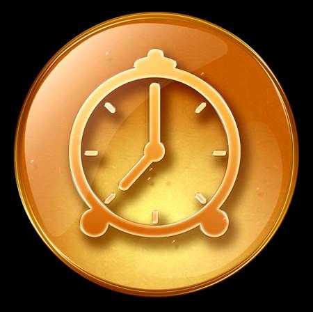 Clock icon, isolated on black background photo