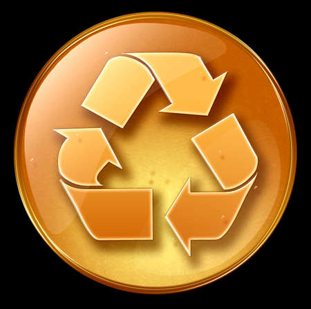 Recycling symbol icon, isolated on black background Stock Photo - 1796678