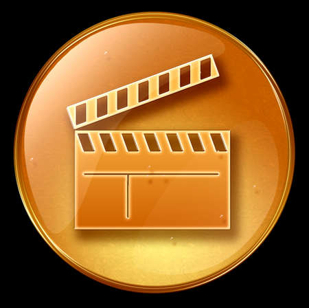 movie clapper board icon, isolated on black background photo