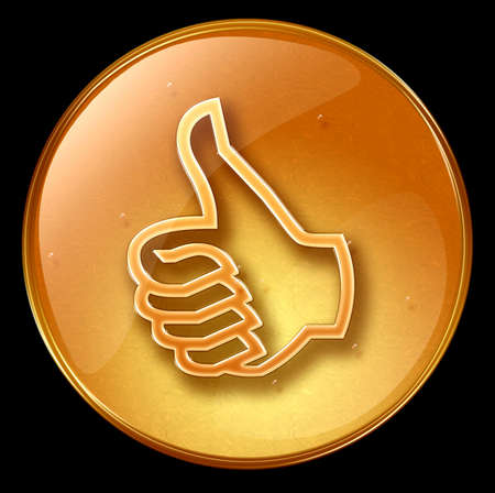 acknowledge: thumb up icon, approval Hand Gesture, isolated on black background Stock Photo