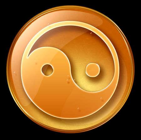 yin yang symbol icon, isolated on black background photo