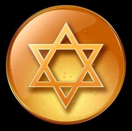 David star icon, isolated on black background photo