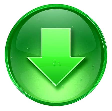 freccia giù: Freccia in gi� icona, isolati su sfondo bianco.  Archivio Fotografico
