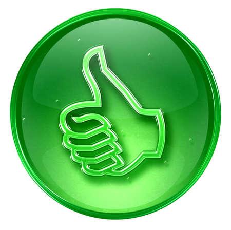 buen trato: pulgar hasta el icono de aprobaci�n gesto de la mano, aislados en fondo blanco.  Foto de archivo