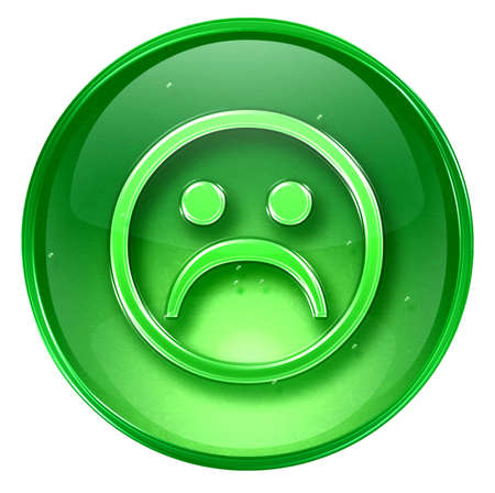 affliction: Smiley Face, dissatisfied, isolated on white background. Stock Photo