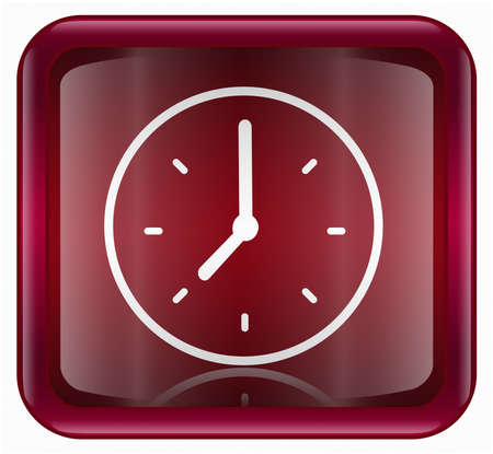 clock icon, red, isolated on white background photo