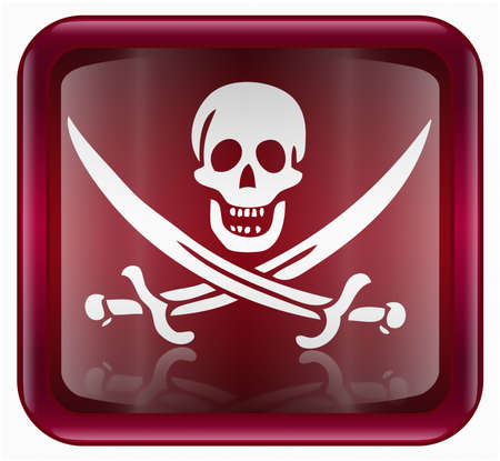 warez: Pirate icon, red, isolated on white background Stock Photo