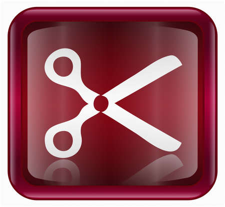 scissors icon, red, isolated on white background photo