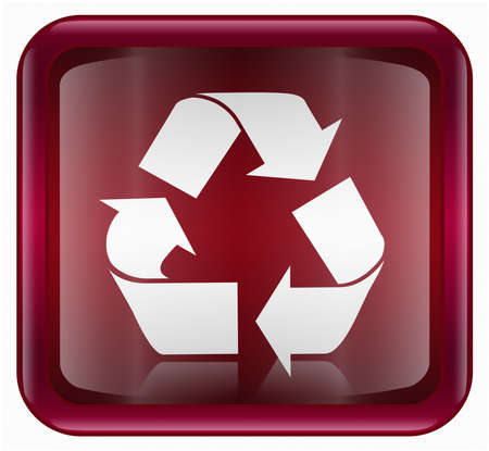 wastes: Recycling symbol icon, red, isolated on white background Stock Photo