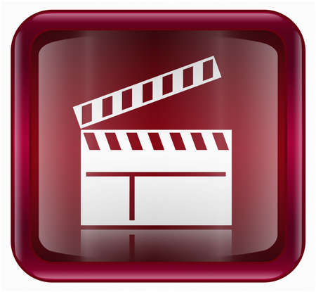 collectible: movie clapper board icon, red, isolated on white background Stock Photo
