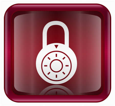 Lock off icon, red, isolated on white background photo